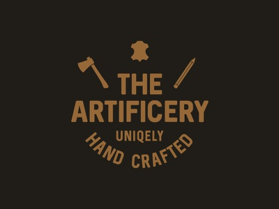 Artificery 2 woodworking leathering unique craft artisan handmade pencil axe icon design logo leather