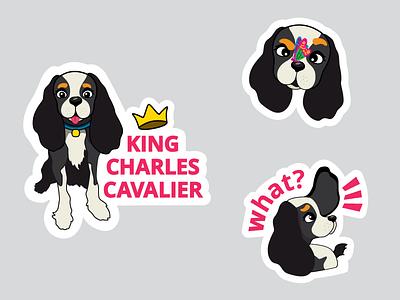 VIP Sticker Pack King Charles Cavalier viber dogo cartoon illustration sticker pack sticker dog spaniel king charles cavalier spaniel cavalier