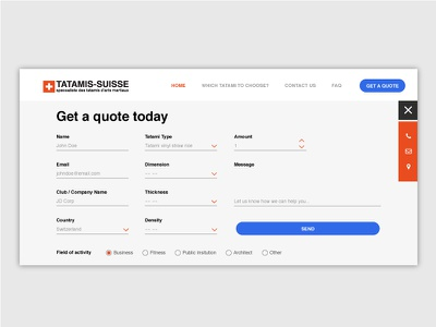 Get a Quote Form interface form clean simple web design website contact layout ui quote get a quote contact us