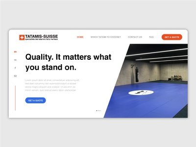 Tatami Home Page get a quote buy mats page home interface ui modern minimalistic web design website tatami
