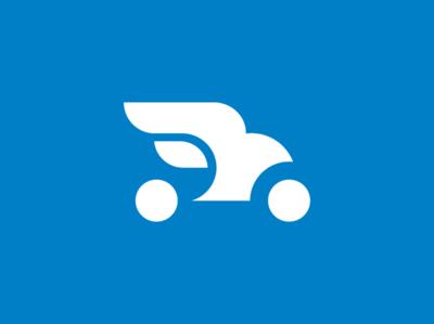 Driverless Car - Daily Logo Challenge Day 5 icon vecor speed daily logo challenge drive minimal branding logo bird logo negative space simple smart bird car driverless car
