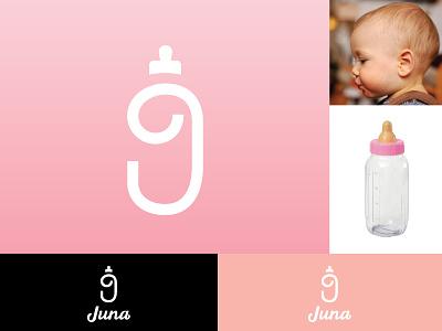 Juna Bottle juna clean simple custom typography wordmark lettering letter j branding logo girl kid pregnancy baby bottle