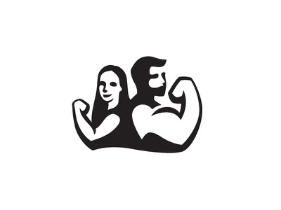 Couple Workout characters character illustration female maleficent couple coupleworkout partners gym icon logo negative space logo design negativespace