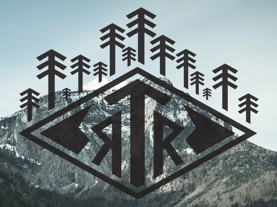 RTR Logo winter identity collateral cabin wander outdoors trees mountains logo badge