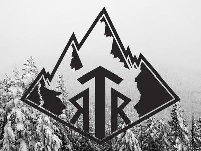 RTR Mountain Logo ride adventure winter wander trees outdoors mountains logo identity collateral cabin badge