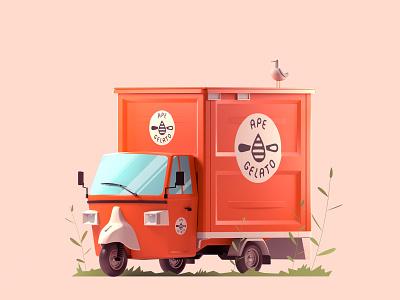 Ape Gelato seagull ice cream truck truck icecream gelato branding design illustration low poly isometric arnold maya 3d