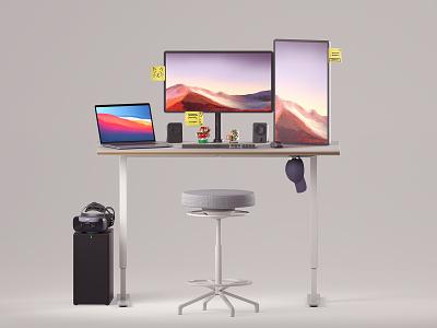Week 01 - Desk Setup desktop logitech varjo apple ikea home office amiibo macbook pc vr desk setup illustration design arnold maya 3d animation