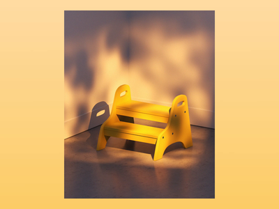 Week 02 - Shady sunset stool ikea handheld leaves light shade design gif after effects motion isometric loop arnold maya 3d animation