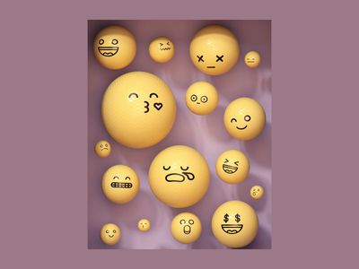 Non-fungible emotions emotions emoji balloon cryptoart nft dynamics isometric motion loop arnold maya 3d animation