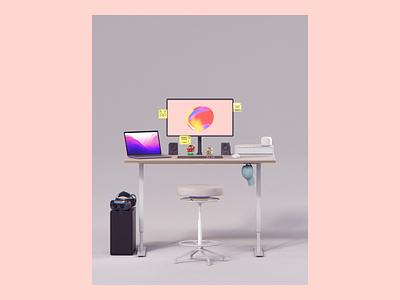 Distracted lately. amiibo ikea pc gravity float desk setup desk home office remote work google macbook pro apple logitech design motion loop arnold maya 3d animation