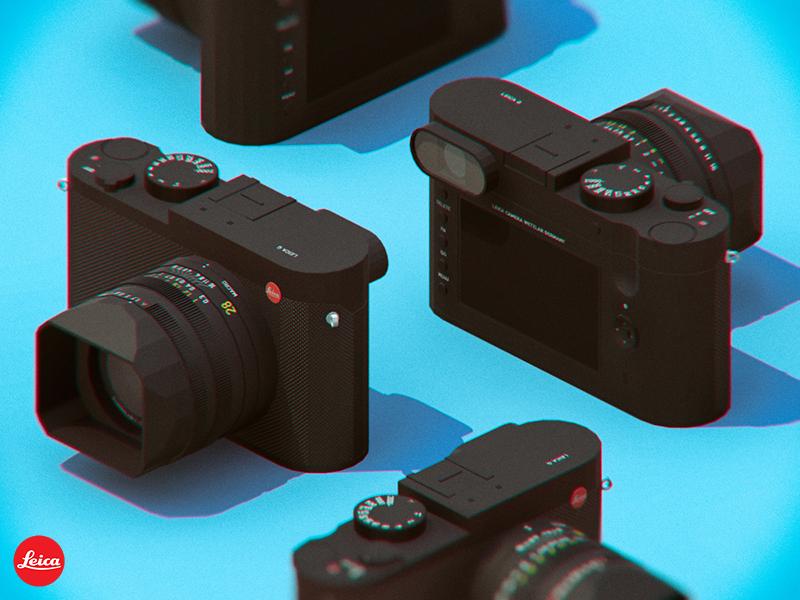 Leica Q advertising isometric 3d low poly camera leica q leica