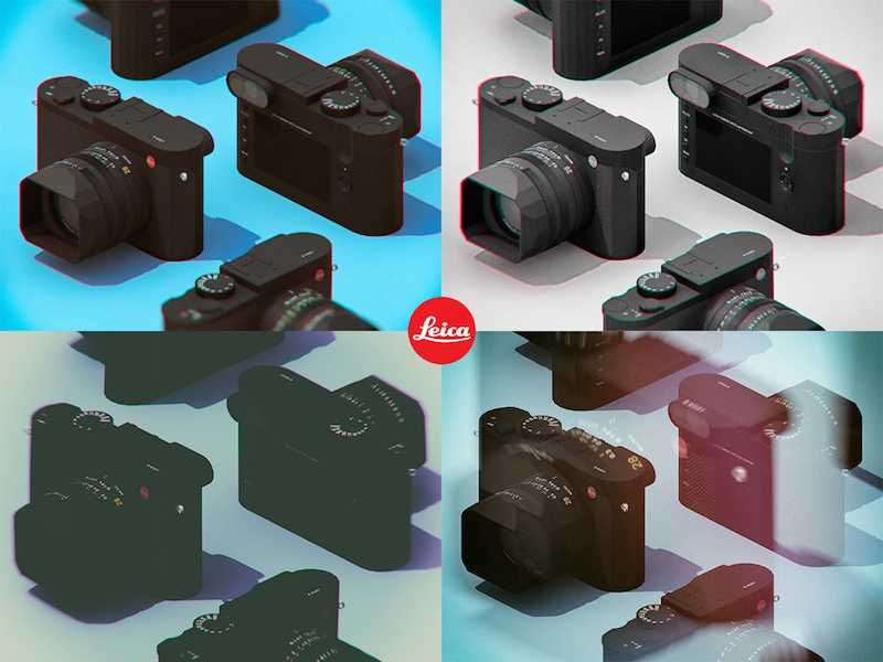 Leica Q Multi advertising isometric 3d low poly camera leica q leica