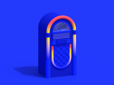 Jukebox Time Machine jukebox after effects motion arnold loop isometric maya 3d animation