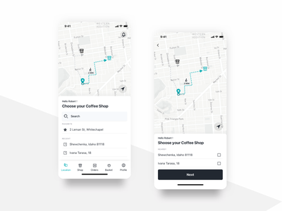 Restaurant searching experience in mobile e-commerce ui design app ordering flat food and drink restaurant black  white suggestion geolocation map sketch shop search ecommerce ux ui mobile ios