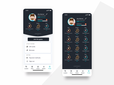 Profile with gamification profile graphic achievement shop restaurant flat ordering ios app mobile food and drink black  white design ux ui ecommerce gamification