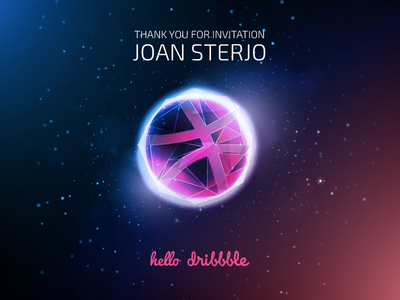 Hello Dribbble graphic space polygonal planet you thank thanks invite dribbble debut