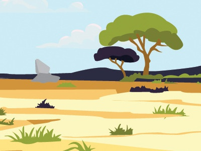 Africa Landscape - Clueless Critters illustration game childrens game kid