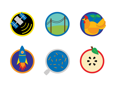 Science on the Move - Icons logo science mobile classroom children school icons geospatial energy plant and animal science robotics and rocketry environmental science health science