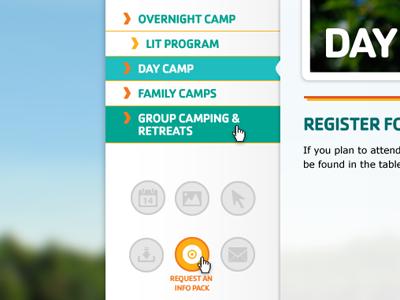 Camp Side-nav and CTA cta ymca camp navigation icon web website side navigation hover state