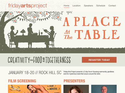 Friday Arts Project website food table feast community conference togetherness