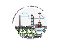 Oil Refinery Factory Illustration