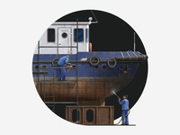 Ship Dust Blasting Illustration