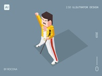 freddie mercury for 2.5d illustrator design