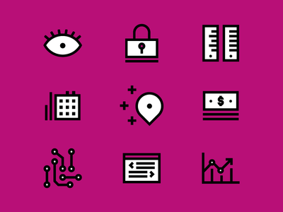 Tech icons security graph eye location money icons tech