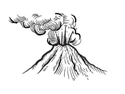Vulcano italy etna black and white etching smoke vulcano