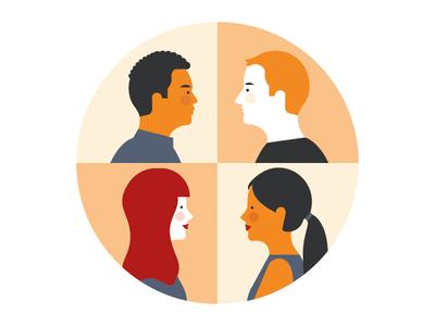 Characters development - IBM people simple realistic minimal ibm illustration characters