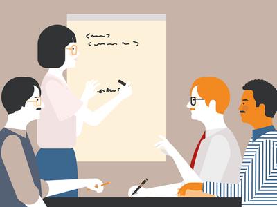 80's team meeting 80s people simple realistic minimal ibm illustration characters