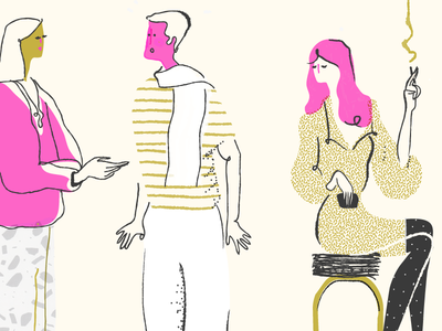 Flirtatious french men texture editorial characters illustration