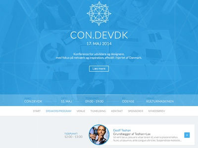 #condevdk draft landingpage timeline draft blue conference circle light