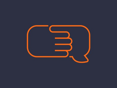 Brandmark – Social media speech buble handshake icon logo brandmark social media