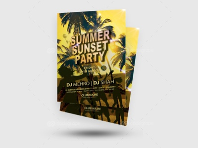 Summer Sunset Party Flyer summer party flyer summer flyer summer spring retro psd pool party holiday flyer template flyer beach party beach