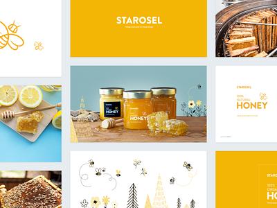 Starosel Honey Brand Book web design illustration ray doyle bee honey logo branding