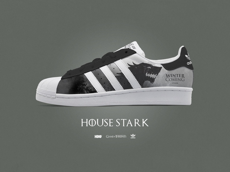 Game of Thrones - Custom Adidas Superstar kicks - House Stark by Ray ... 18017abca9d9