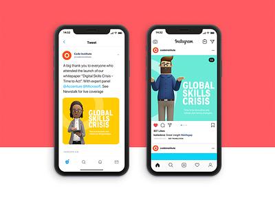 Social Ads - Digital Skills Crisis Campaign ray doyle twitter feed social media instagram ads instagram ireland ui illustration vector branding