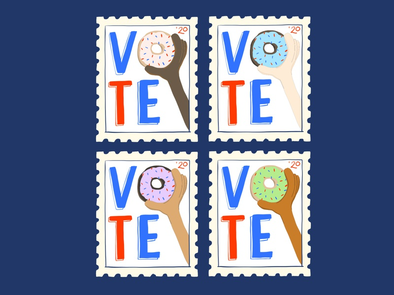15/100 VOTE art for change vote donuts adobefresco illustration 100dayproject