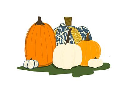 23/100 illustration autumn fall halloween pumpkins pumpkin adobefresco 100dayproject
