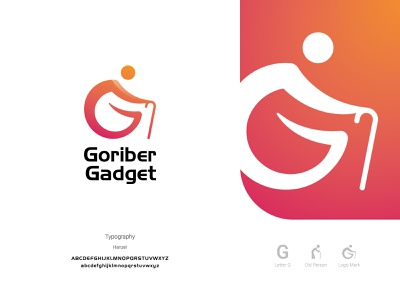 Goriber Gadget Logo creative identity branding and identity poor logo old man letter g illustration accessories icon logotype logo gadget clean branding