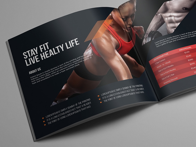 Fitness Square Bifold Brochure square fit book magazine brochure bifold dumble slim body fitness gym