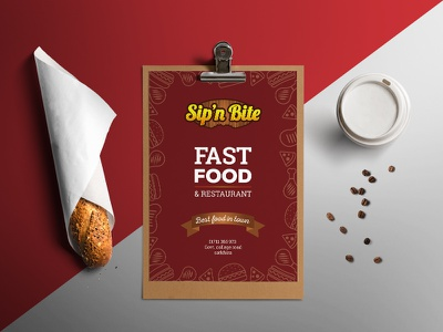 Sip'n Bite Menu Design simple restro cafe table tent branding burger food fast food restaurant flyer menu