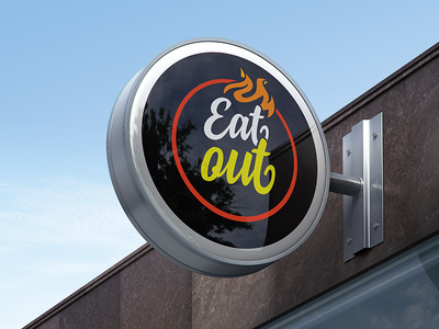Eatout Logo chicken shop bbq coffee pizza burger fire identity fast food restaurant branding out eat logo