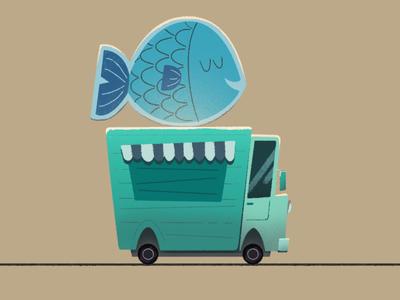 Fish Car digital illustration asset design colorful illustration