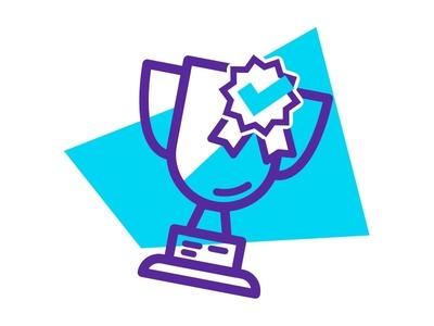 Trophy Icon - Descomplica landing geometric outline monochromatic colorful color prize trophy landings asset icondesign ui icon