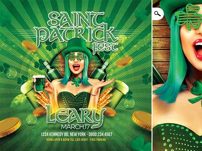 Saint Patrick Irish Day Party Flyer clover day money celebration party club flyer irish national day beer saint patricks day saint patrick