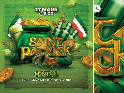 Saint Patrick Day Celebration Party Flyer night event beer pub club flyer party clover ireland st pat saint patricks day saint patrick