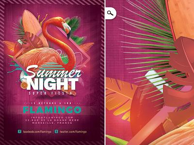 Flamingo Summer Party Flyer spring bash tropical exotic night club seasonal season flyer party summer flamingo