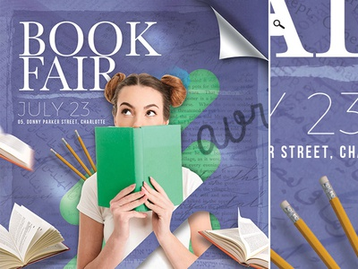 Book Fair Or Library Shop Flyer themed event advertising literature print author reading flyer shop library fair exposition book
